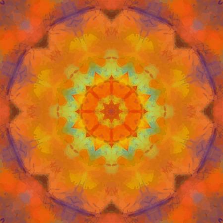 Orange watercolor mandala design. Indian Chackra concept. Yoga mehndi design Vector