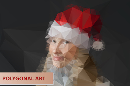 Mrs. Santa. Girl in Santa hat.Abstract polygonal face. Triangles portrait for your design. Vector
