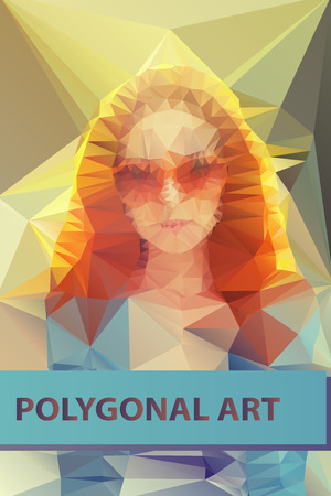 Abstract polygonal face. Triangles portrait for your design. Geometrical lines eps 10. Vector