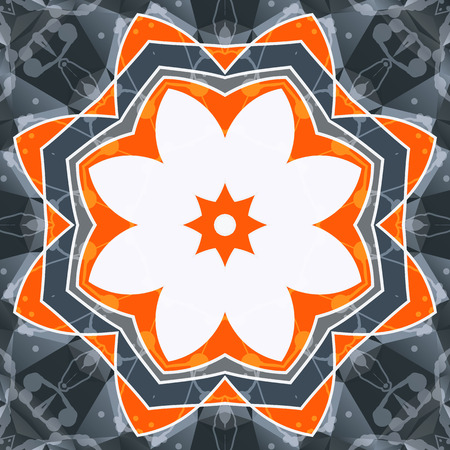swadhisthana: Mandala anaranjada swadhisthana s�mbolo de la flor de loto. Imagen estilizada chakra. Dise�o yoga integral floral. Marco oriental en blanco. Fondo del dise�o del caleidoscopio.
