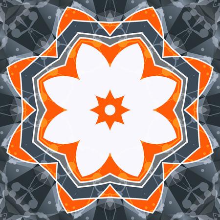 reiki: Mandala arancione swadhisthana simbolo fiore di loto. Immagine stilizzata chakra. Disegno yoga olistico floreale. Blank cornice orientale. Disegno di sfondo Kaleidoscope. Vettoriali