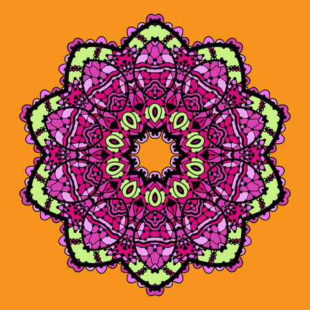 karma design: Violet stylized mandala over bright orange background. Vintage looking indian asian round pattern design.