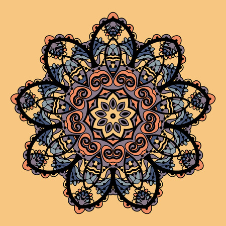 yantra: Stylized mandala vector. Flower like round ornate design over chokolate paper background Illustration