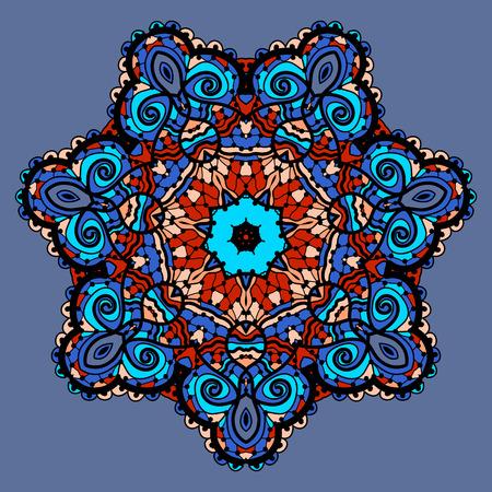 Flor mandala estilizada. Patrón ornamental Ronda. Elemento decorativo de la vendimia. Dibujado a mano papel tapiz de fondo. Islam, árabe, india, otomano, motivos asiáticos. Símbolo Chakra. Herramienta yoga Yantra en color azul. Foto de archivo - 35030581