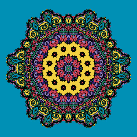 Bright color mandala design. Indian motif. Tribal design elements. Vector