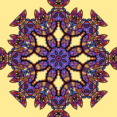 Psychadelic mandala over yellow background Vector