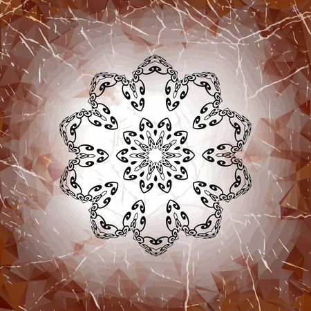 Grungy mandala design on old paper Vector
