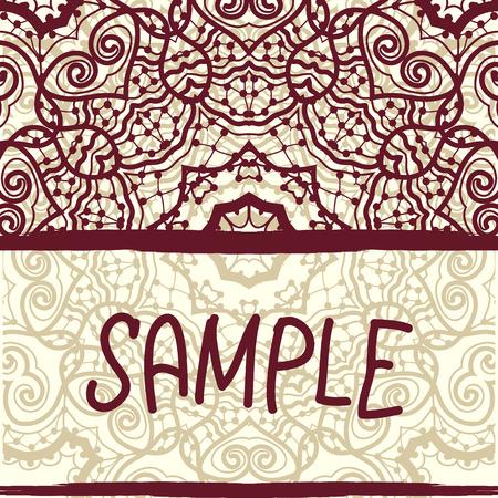 Invitation card design in retro style. Oriental ornament pattern. Vintage decorative element. Hand drawn background. Asian, islamic, arabic, indian, ottoman motif. Vector
