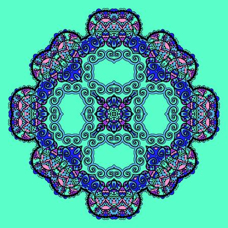 Trippy flower. Acid art. Oriental mandala over bright green color. Design element. Vector