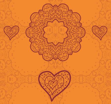 unmarried: Dise�o de tarjeta de San Valent�n. Ornamentales volante naranja vector. Tarjeta del amor. Coraz�n en forma de elementos decorativos de �poca. Dibujado a mano esbozo mandala. Isl�mico, �rabe, indio, otomano, motivos asi�ticos. Plantilla Flayer.