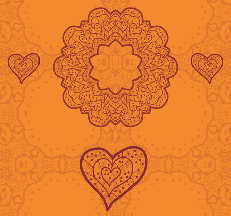 Valentine card design. Ornamental orange vector flyer. Love card. Heart shaped vintage decorative elements. Hand drawn outline mandala. Islamic, arabic, indian, ottoman, asian motifs. Flayer template. Vector
