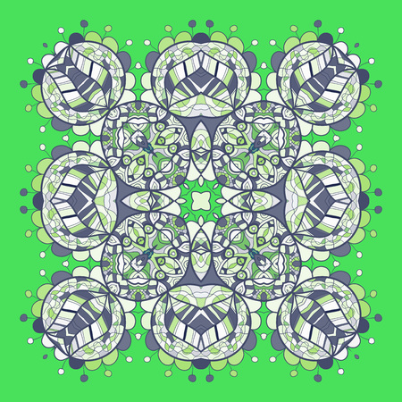 delicate arabic motif: Abstract mandala on bright green background