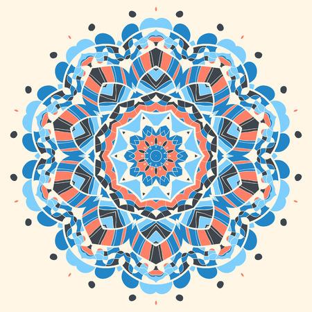 frilly: Blue and orange mandala flower