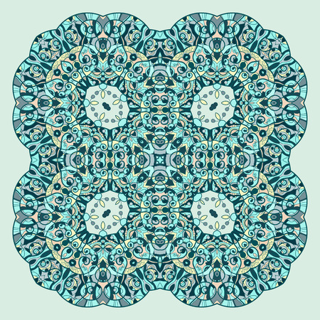 delicate arabic motif: Mandala in blue and green colors