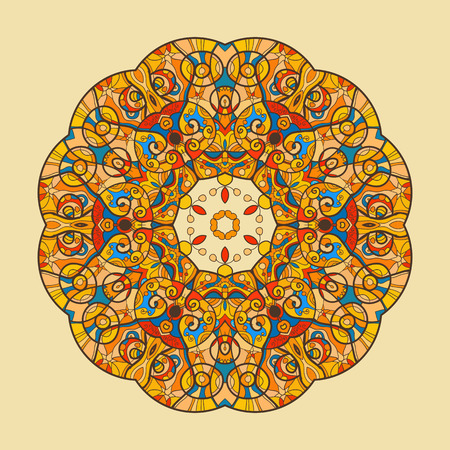 delicate arabic motif: Fish. Oriental Yellow mandala motif round lase pattern on the black background, like snowflake or mehndi paint on yellow color background Illustration