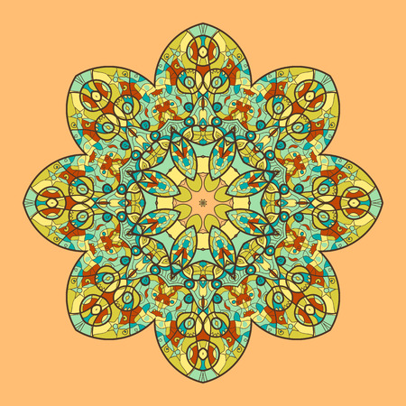 delicate arabic motif: Oriental mandala motif round lase pattern on the yellow background, like snowflake or mehndi paint on yellow color background Illustration