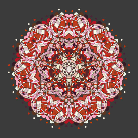 mendi: Oriental mandala motif round lase pattern on the gray background, like snowflake or mehndi paint of Red color. Ethnic backgrounds concept