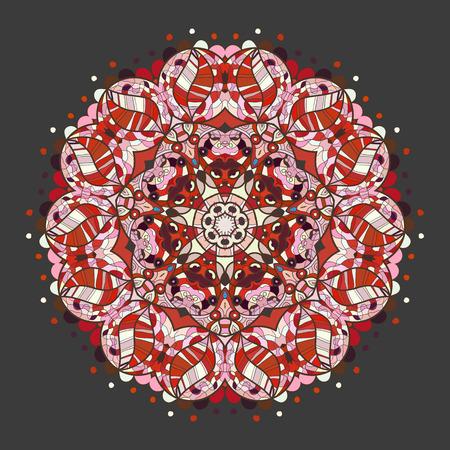 Oriental motivo mandala modello rotondo lase su sfondo grigio, come il fiocco di neve o mehndi vernice di colore rosso. Etnie concetto