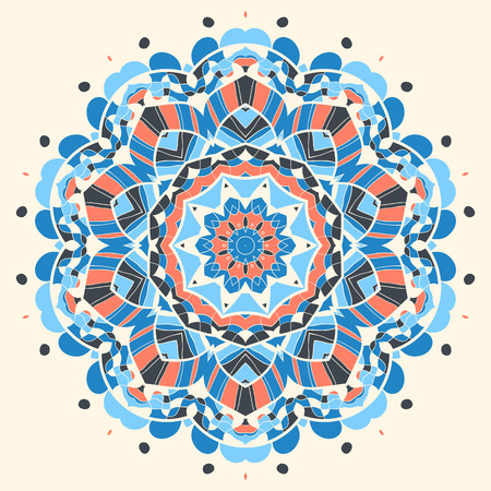 Fish. Oriental Blue mandala motif round lase pattern on the black background, like snowflake or mehndi paint on yellow color background Vector