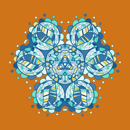 karma concept: what is karma? Oriental mandala motif round lase pattern on the brown background, like snowflake or mehndi paint of orange color. Ethnic backgrounds concept
