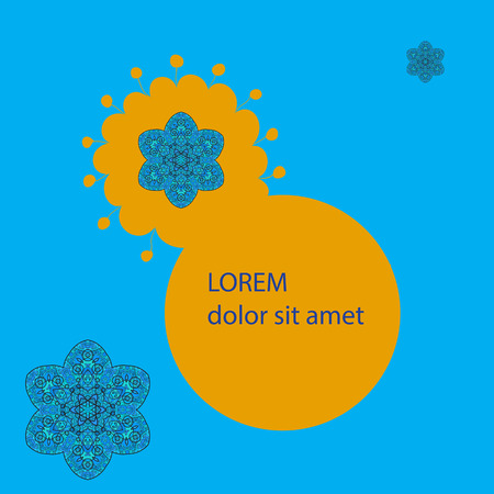 Text Frame with oriental mandala motif round lase pattern on the blue background Vector