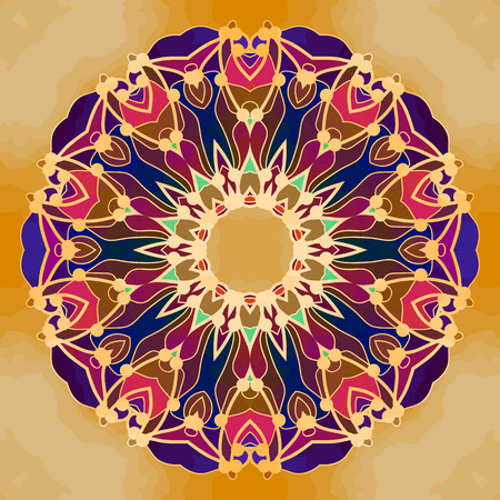 vintage element: Abstract Mandala Background on old paper. Vintage element