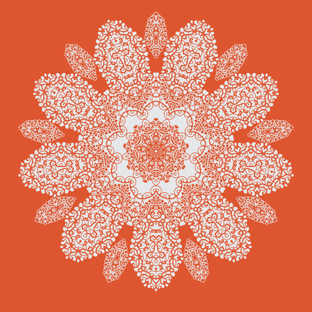 conveniently: Hand drawn mandala on orange background. All objects are conveniently grouped and are easily editable. Illustration