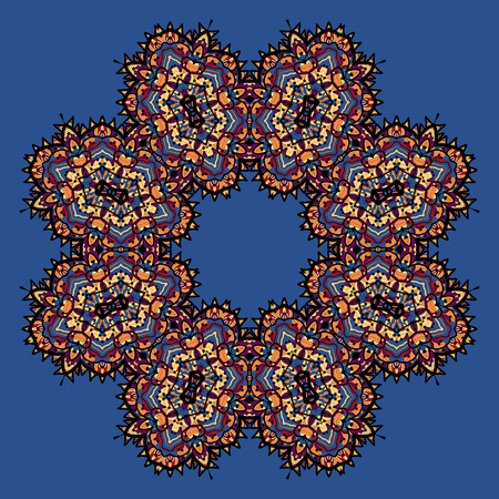 karma graphics: Abstract vector circle floral ornamental border on blue background.