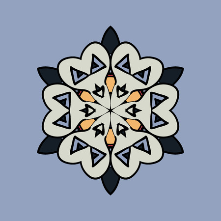 Mandala on light blue gray background. Vintage design elements. Tribal  like motif. Flayer template unusual. Vector