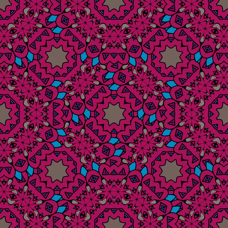 Vintage purple seamless stylized pattern with filigree circles mandala vector. Endless motif. Vector