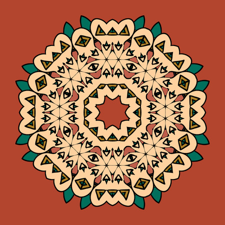 What is karma. Stylized oriental mandala motif round lase pattern on the yellow background, like snowflake or mehndi paint of orange color. Ethnic backgrounds concept Illustration