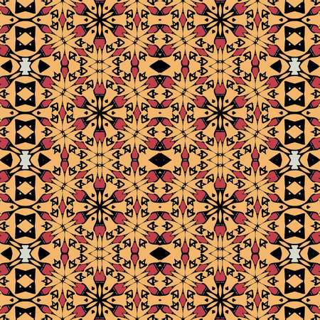saturated color: Seamless old-fashioned oriental pattern. Vintage elements motif Illustration