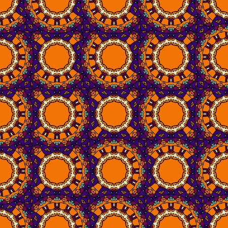 Endless mandalas in orange color allpaper. Tribal vintage ethnic seamless pattern ornamental motif. Vector