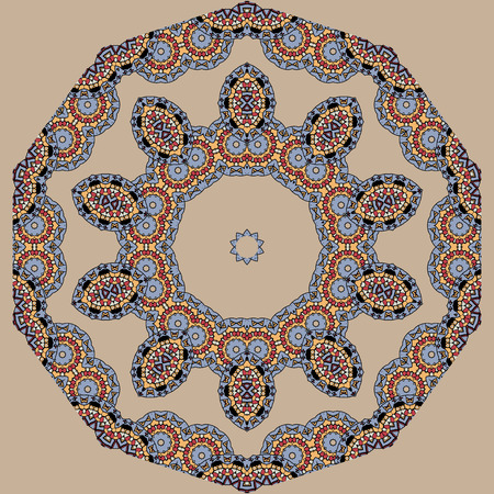 karma graphics: Asian seamless pattern. Indian ornament, kaleidoscopic pattern, mandala. Illustration