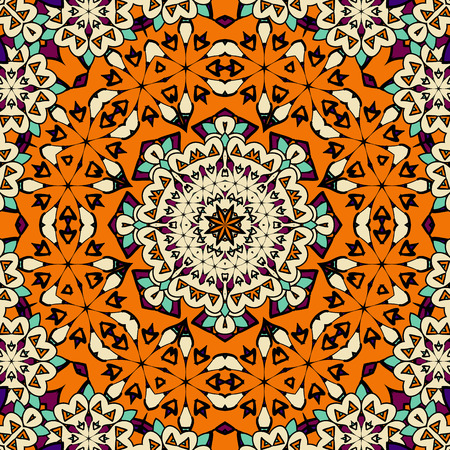 Hand drawn seamless ornament in orange color. Endless oriental background. Vector