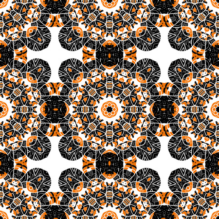 karma: Seamless oriental tiled pattern. Stylized flowers endless wallpaper.