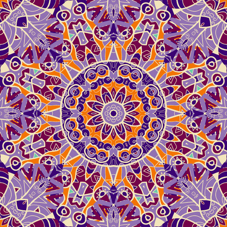 Violet color mandala Symmetry asian pattern.
