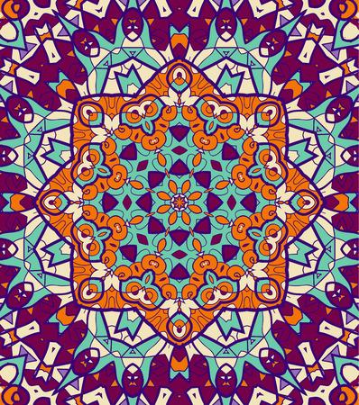 karma: Bright coloured seamless mandala. Violet, green and orange colors