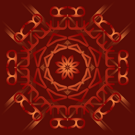 karma graphics: Abstract mandala on deep red background with gradients.