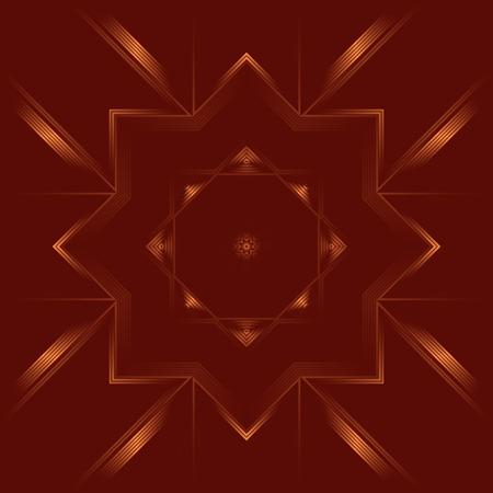 karma graphics: Geometric abstract mandala of deep red color. Illustration