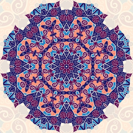 Colorful mandala. Ethnic ornament. Template for menu, greeting card, invitation or cover Vector