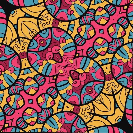 Vintage vector wallpaper. Abstract seamless flourish colorful vector background.