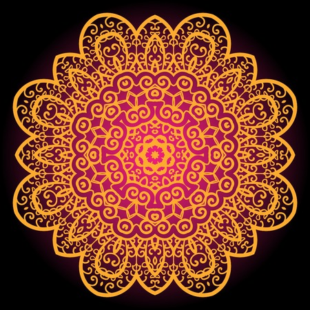 karma: Orange vintage art of india. Mandala chakra karma design.