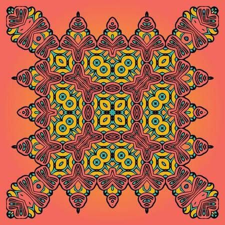 floral carpet: Oriental Floral Carpet Design Orange Color Illustration