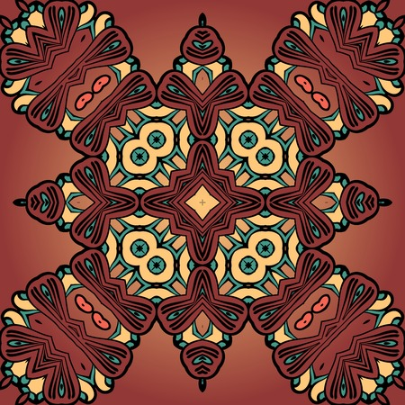 Brown four corner seamless tile. African tribal style Decorative vintage element Vector