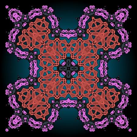 Pink and violet ornamental four corner mandala over gradient background Vector