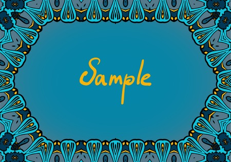 dominują: Hand drawn frame in indian style, dominate blue color.