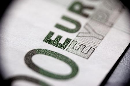 Macro of euro bank note. photo