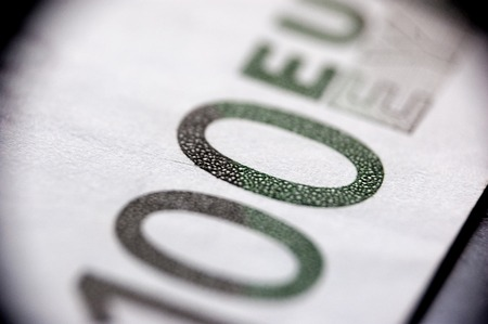 Macro shot of 100 euro note. photo