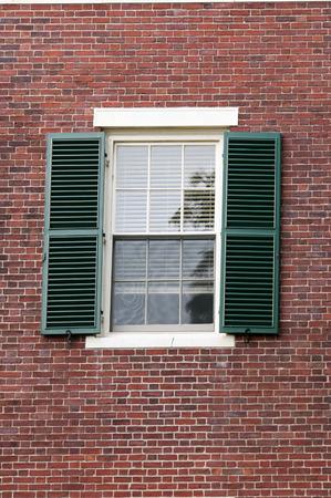 massachussets: Black metal  Window Open Shutters in the Cambrige, Massachussets, US Stock Photo